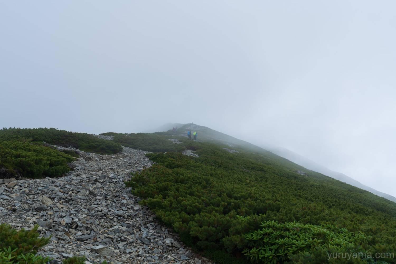 爺ヶ岳への稜線はガスの中
