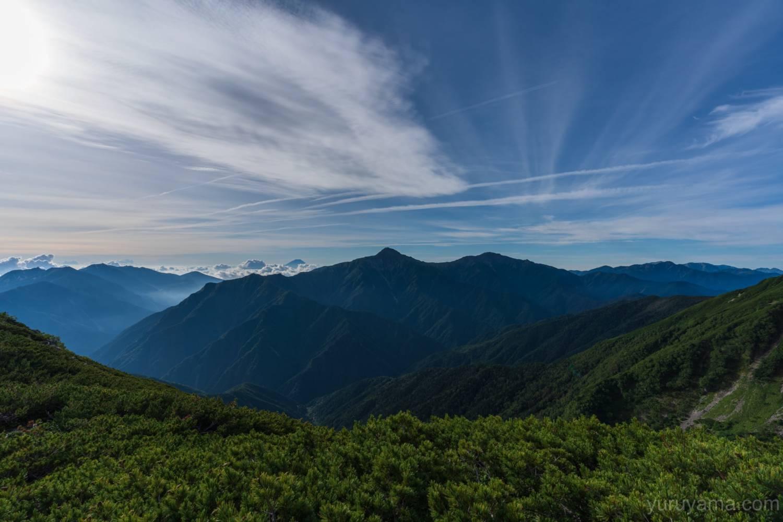 仙丈ヶ岳から北岳