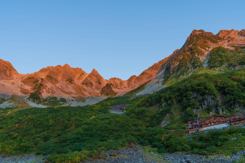 モルゲンルートに染まった穂高岳