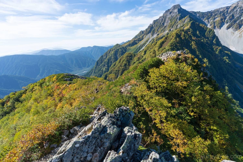 屏風の耳から見た前穂高岳