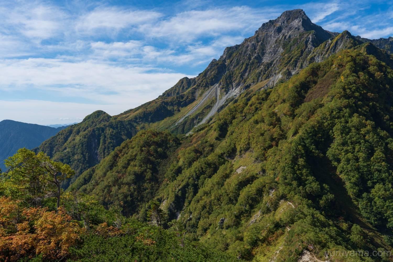 屏風の耳から撮影した前穂高岳