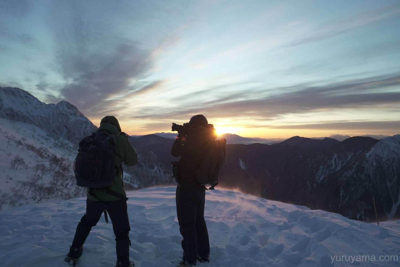 西穂丸山の登山者の画像