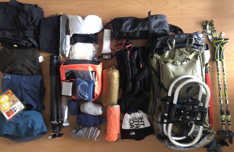 冬季西穂丸山の登山装備