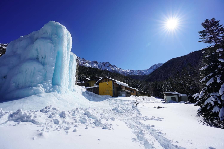厳冬期の赤岳鉱泉