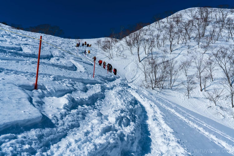 厳冬期谷川岳の登山道の画像