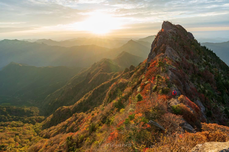 ゴールデンアワーに染まる紅葉の石槌山