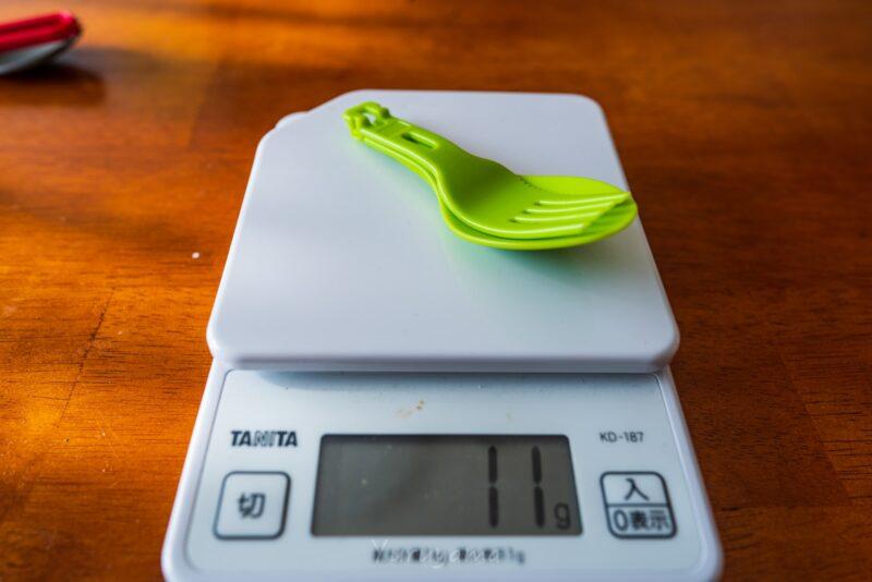 モンベルのカトラリーの重量