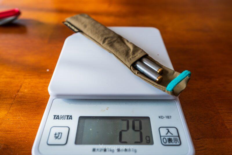 モンベルのカトラリー(箸)の重量は29g