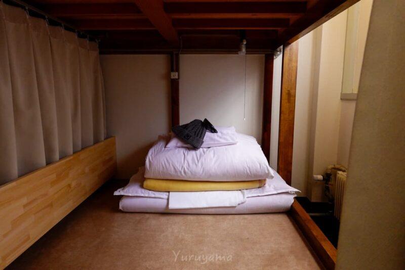 みくりが池温泉相部屋のベッドスペース