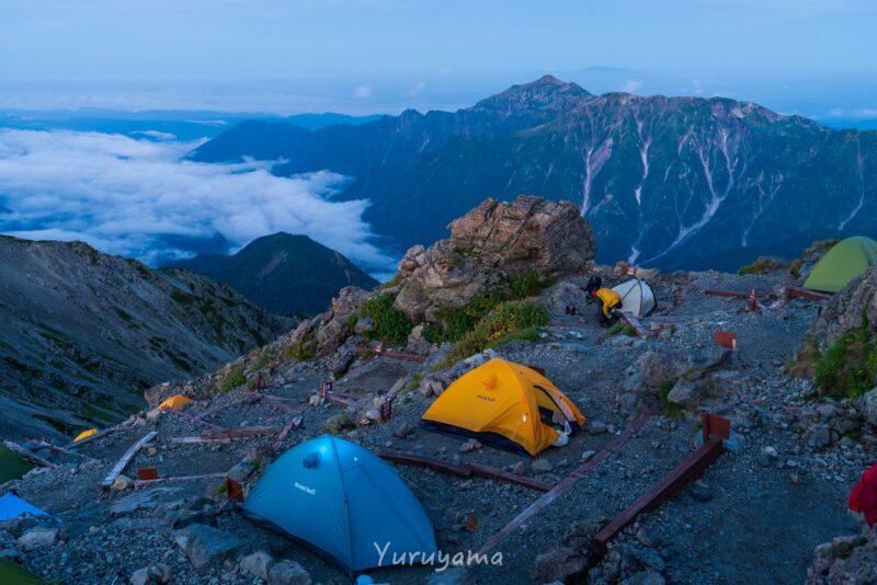 槍ヶ岳山荘でのテント泊