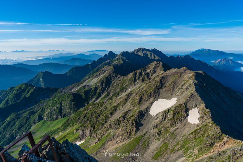 槍ヶ岳山荘あたりから観た穂高連峰